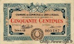 50 Centimes FRANCE régionalisme et divers GRAY ET VESOUL 1919 JP.062.11 TTB à SUP