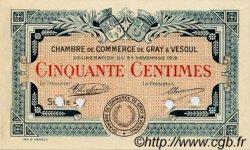 50 Centimes FRANCE régionalisme et divers GRAY ET VESOUL 1919 JP.062.12 TTB à SUP