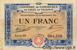 1 Franc FRANCE régionalisme et divers GRAY ET VESOUL 1919 JP.062.13 TB