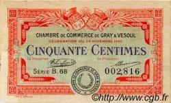 50 Centimes FRANCE régionalisme et divers GRAY ET VESOUL 1920 JP.062.15 TB