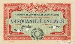 50 Centimes FRANCE régionalisme et divers Gray et Vesoul 1920 JP.062.16 SPL à NEUF