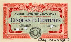50 Centimes FRANCE régionalisme et divers GRAY ET VESOUL 1920 JP.062.16 TTB à SUP
