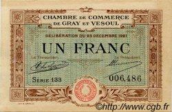 1 Franc FRANCE régionalisme et divers GRAY ET VESOUL 1921 JP.062.21 TTB à SUP