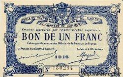 1 Franc FRANCE régionalisme et divers LE HAVRE 1916 JP.068.15 TTB à SUP