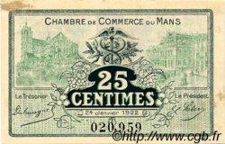 25 Centimes FRANCE régionalisme et divers Le Mans 1922 JP.069.20 TTB à SUP