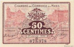 50 Centimes FRANCE régionalisme et divers Le Mans 1922 JP.069.23 SPL à NEUF