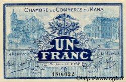 1 Franc FRANCE régionalisme et divers LE MANS 1922 JP.069.25 SPL à NEUF