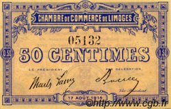 50 Centimes FRANCE régionalisme et divers Limoges 1914 JP.073.01 SPL à NEUF
