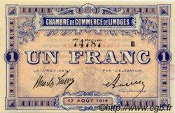 1 Franc FRANCE régionalisme et divers Limoges 1914 JP.073.03 TTB à SUP