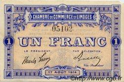 1 Franc FRANCE régionalisme et divers Limoges 1914 JP.073.07 SPL à NEUF