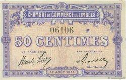 50 Centimes FRANCE régionalisme et divers LIMOGES 1914 JP.073.08 TTB à SUP