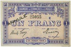 1 Franc FRANCE régionalisme et divers Limoges 1914 JP.073.11 SPL à NEUF