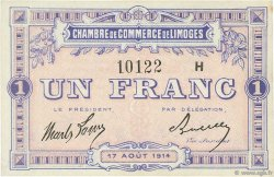 1 Franc FRANCE régionalisme et divers LIMOGES 1914 JP.073.15 SPL à NEUF