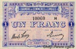 1 Franc FRANCE régionalisme et divers LIMOGES 1914 JP.073.15 TB