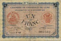 1 Franc FRANCE régionalisme et divers LURE 1919 JP.076.34 TB