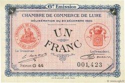 1 Franc FRANCE régionalisme et divers Lure 1920 JP.076.37 SPL à NEUF