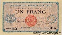 1 Franc FRANCE régionalisme et divers Lyon 1914 JP.077.01 SPL à NEUF
