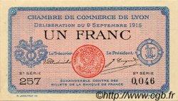 1 Franc FRANCE régionalisme et divers Lyon 1915 JP.077.06 SPL à NEUF