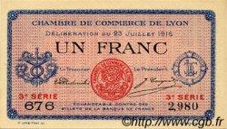 1 Franc FRANCE régionalisme et divers LYON 1916 JP.077.10 SPL à NEUF