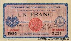 1 Franc FRANCE régionalisme et divers Lyon 1916 JP.077.10 TTB à SUP