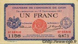 1 Franc FRANCE régionalisme et divers LYON 1917 JP.077.15 TTB à SUP