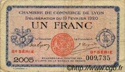 1 Franc FRANCE régionalisme et divers LYON 1920 JP.077.21 TB