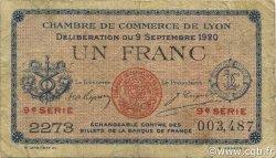 1 Franc FRANCE régionalisme et divers Lyon 1920 JP.077.23 TB