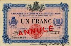 1 Franc FRANCE régionalisme et divers MENDE 1917 JP.081.04