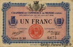 1 Franc FRANCE régionalisme et divers MENDE 1918 JP.081.07 TB
