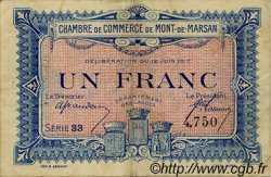 1 Franc FRANCE régionalisme et divers Mont-De-Marsan 1917 JP.082.21 TB