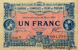 1 Franc FRANCE régionalisme et divers Mont-De-Marsan 1922 JP.082.39 SPL à NEUF