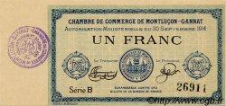1 Franc FRANCE régionalisme et divers Montluçon, Gannat 1914 JP.084.02 SPL à NEUF