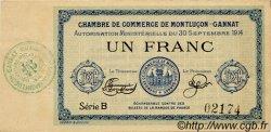 1 Franc FRANCE régionalisme et divers Montluçon, Gannat 1914 JP.084.05 TTB à SUP