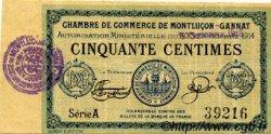 50 Centimes FRANCE régionalisme et divers MONTLUÇON, GANNAT 1914 JP.084.10 TTB à SUP