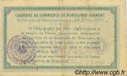 1 Franc FRANCE régionalisme et divers MONTLUÇON, GANNAT 1916 JP.084.23 TTB à SUP