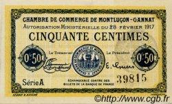 50 Centimes FRANCE régionalisme et divers Montluçon, Gannat 1917 JP.084.28 TTB à SUP