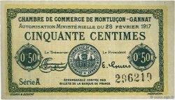 50 Centimes FRANCE régionalisme et divers MONTLUÇON, GANNAT 1917 JP.084.28 TB