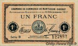 1 Franc FRANCE régionalisme et divers Montluçon, Gannat 1917 JP.084.37 TTB à SUP