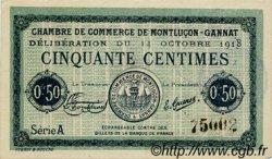 50 Centimes FRANCE régionalisme et divers MONTLUÇON, GANNAT 1918 JP.084.40