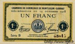 1 Franc FRANCE régionalisme et divers Montluçon, Gannat 1918 JP.084.42 SPL à NEUF