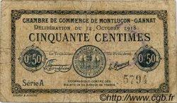 50 Centimes FRANCE régionalisme et divers Montluçon, Gannat 1918 JP.084.46 TB