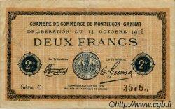 2 Francs FRANCE régionalisme et divers Montluçon, Gannat 1918 JP.084.49 TTB à SUP