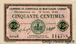 50 Centimes FRANCE régionalisme et divers MONTLUÇON, GANNAT 1920 JP.084.50 TTB à SUP