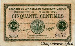 50 Centimes FRANCE régionalisme et divers MONTLUÇON, GANNAT 1920 JP.084.50 TB
