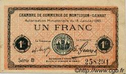 1 Franc FRANCE régionalisme et divers Montluçon, Gannat 1921 JP.084.58 TTB à SUP
