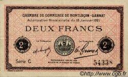 2 Francs FRANCE régionalisme et divers MONTLUÇON, GANNAT 1921 JP.084.59 TTB à SUP