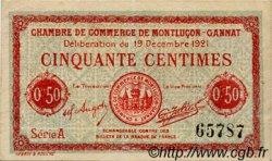 50 Centimes FRANCE régionalisme et divers MONTLUÇON, GANNAT 1921 JP.084.61 TTB à SUP