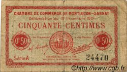 50 Centimes FRANCE régionalisme et divers MONTLUÇON, GANNAT 1921 JP.084.61 TB