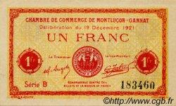 1 Franc FRANCE régionalisme et divers Montluçon, Gannat 1921 JP.084.63 SPL à NEUF