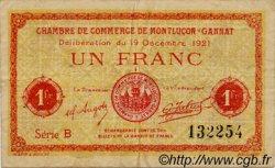 1 Franc FRANCE régionalisme et divers MONTLUÇON, GANNAT 1921 JP.084.63 TB